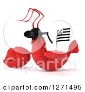 Clipart Of A 3d Sad Lobster Wearing A Hat Facing Left And Holding A Breton Flag Royalty Free Illustration
