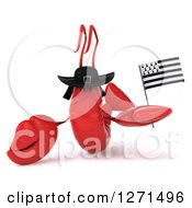 Clipart Of A 3d Sad Lobster Wearing A Hat And Holding A Breton Flag Royalty Free Illustration