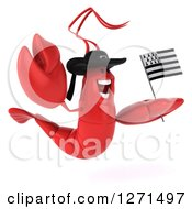Clipart Of A 3d Excited Lobster Facing Right Wearing A Hat And Jumping With A Breton Flag Royalty Free Illustration