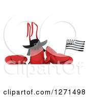 Clipart Of A 3d Lobster Wearing A Hat And Holding A Breton Flag Over A Sign Royalty Free Illustration