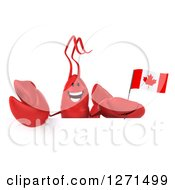 Clipart Of A 3d Happy Lobster Holding A Canadian Flag Over A Sign Royalty Free Illustration