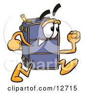Clipart Picture Of A Suitcase Cartoon Character Running by Toons4Biz