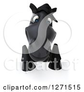 Clipart Of A 3d Black Horse Looking Down Over A Sign Royalty Free Illustration