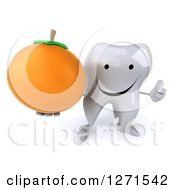 Clipart Of A 3d Happy Tooth Character Holding An Orange And Thumb Up Royalty Free Illustration