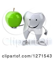 Clipart Of A 3d Happy Tooth Character Holding A Green Apple Royalty Free Illustration by Julos