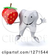 Clipart Of A 3d Happy Tooth Character Jumping And Holding A Strawberry Royalty Free Illustration