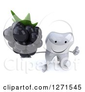 Clipart Of A 3d Happy Tooth Character Holding Up A Blackberry And Thumb Up Royalty Free Illustration