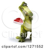 Clipart Of A 3d Full Length Green Dinosaur Holding A Steak Around A Sign Royalty Free Illustration