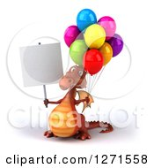 Clipart Of A 3d Red Dragon Holding Party Balloons And A Blank Sign Royalty Free Illustration