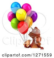 Clipart Of A 3d Red Dragon Holding Party Balloons Over A Sign Royalty Free Illustration