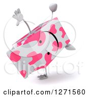 Clipart Of A 3d Pink Spotted Strawberry Milk Carton Character Doing A Cartwheel Royalty Free Illustration