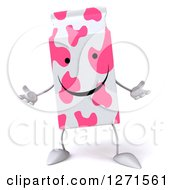 Clipart Of A 3d Pink Spotted Strawberry Milk Carton Character Shrugging Royalty Free Illustration