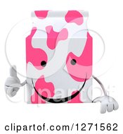 Clipart Of A 3d Pink Spotted Strawberry Milk Carton Character Giving A Thumb Up Over A Sign Royalty Free Illustration