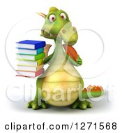 Clipart Of A 3d Green Dragon Holding A Stack Of Books And Giving A Thumb Up Royalty Free Illustration by Julos