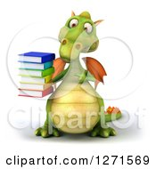 Clipart Of A 3d Green Dragon Holding And Pointing To A Stack Of Books Royalty Free Illustration by Julos