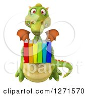 Clipart Of A 3d Green Dragon Holding Colorful Books Royalty Free Illustration by Julos