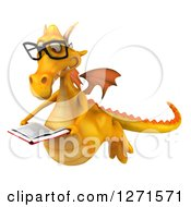 Clipart Of A 3d Bespectacled Yellow Dragon Flying And Reading A Book Royalty Free Illustration