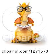 Clipart Of A 3d Bespectacled Yellow Dragon Reading A Book Royalty Free Illustration