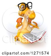 Clipart Of A 3d Bespectacled Yellow Dragon Holding A Thumb Up And Reading A Book Royalty Free Illustration