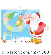 Clipart Of A Christmas Santa Claus Inserting Pins Into A World Map Royalty Free Vector Illustration