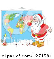 Clipart Of A Christmas Santa Inserting Pins Into A World Map Royalty Free Vector Illustration