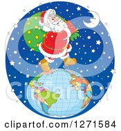 Clipart Of Santa Walking On Top Of A Globe In The Snow On Christmas Eve Night Royalty Free Vector Illustration