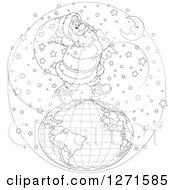 Clipart Of A Black And White Santa Walking On Top Of A Globe In The Snow On Christmas Eve Night Royalty Free Vector Illustration by Alex Bannykh