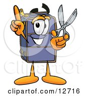 Clipart Picture Of A Suitcase Cartoon Character Holding A Pair Of Scissors