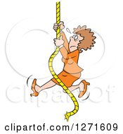 Clipart Of An Uncertain Fearful Caucasian Man Climbing An Upward Mobility Rope Royalty Free Vector Illustration