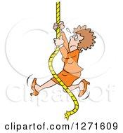 Uncertain Fearful Caucasian Man Climbing An Upward Mobility Rope