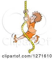 Clipart Of A Happy Caucasian Woman Climbing An Upward Mobility Rope Royalty Free Vector Illustration by Johnny Sajem