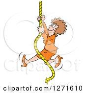 Happy Caucasian Woman Climbing An Upward Mobility Rope