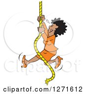 Clipart Of A Determined Black Woman Climbing An Upward Mobility Rope Royalty Free Vector Illustration by Johnny Sajem