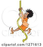 Frightened Uncertain Black Woman Climbing An Upward Mobility Rope