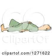 Clipart Of A Caucasian Man Laying On His Back With His Hand Over His Belly Royalty Free Vector Illustration