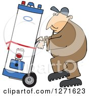 Caucasian Worker Man Moving A Water Heater On A Dolly