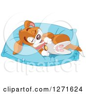 Cute Happy Puppy Dog Resting On A Comfortable Pillow