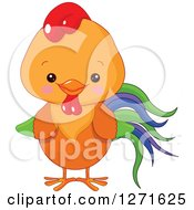 Clipart Of A Cute Happy Rooster With A Blue Purple And Green Tail Royalty Free Vector Illustration