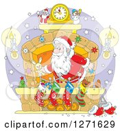 Clipart Of Santa Stuffing Stockings At A Hearth On Christmas Eve Royalty Free Vector Illustration