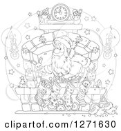 Clipart Of A Black And White Santa Claus Stuffing Stockings At A Hearth On Christmas Eve Royalty Free Vector Illustration by Alex Bannykh