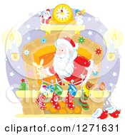 Clipart Of Santa Claus Stuffing Stockings At A Hearth On Christmas Eve Royalty Free Vector Illustration by Alex Bannykh