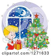 Clipart Of A Blond Caucasian Boy Gazing At A Gift On Snowy Christmas Night Royalty Free Vector Illustration