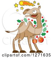 Clipart Of A Christmas Camel Decked Out In Baubles And Holly Watching A Comet In The Sky Royalty Free Vector Illustration by Zooco
