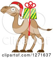 Clipart Of A Christmas Camel With A Gift Strapped On His Back Royalty Free Vector Illustration by Zooco