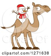 Clipart Of A Melting Christmas Snowman On A Camels Back Royalty Free Vector Illustration