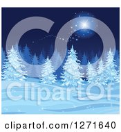 Clipart Of A Blue Christmas Background Of A Magical Star Over Snow And Flocked Trees At Night Royalty Free Vector Illustration