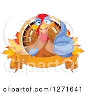 Clipart Of A Cute Thanksgiving Turkey Bird Giving A Thumb Up Over Autumn Maple Leaves And A Banner Royalty Free Vector Illustration by Pushkin