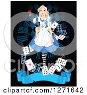 Alice In Wonderland Looking Upwards Over A Clock Keys And Playing Cards With A Blue Banner On Black