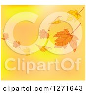 Clipart Of A Background Of Floating Autumn Leaves And A Breeze Over Gradient Royalty Free Vector Illustration