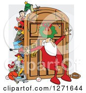 Santa Claus In His Pajamas Leaning Against An Overflowing Closet Door